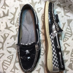 Sperry Houndstooth Leather Upper Size 8 EUC